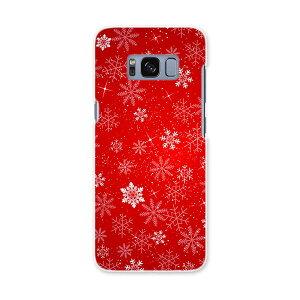 SCV36 Galaxy S8 ギャラクシー エス エイト au エーユー スマホ カバー ハード pc ケース ハードケース 雪 結晶 赤 012671