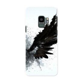SC-02K Galaxy S9 ギャラクシー エスナイン docomo sc02k ドコモ スマホ カバー ケース スマホケース スマホカバー PC ハードケース 007919 インク ペンキ 黒 ブラック 羽根