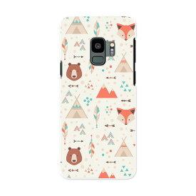 SCV38 Galaxy S9 ギャラクシー エスナイン au エーユー スマホ カバー ケース スマホケース スマホカバー PC ハードケース 010722 動物 きつね イラスト くま