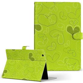 ASUS エイスース・アスース TransBook トランスブック t90chi3775 Lサイズ 手帳型 タブレットケース カバー フリップ ダイアリー 二つ折り 革 チェック・ボーダー フラワー 緑 ハート イラスト 005022