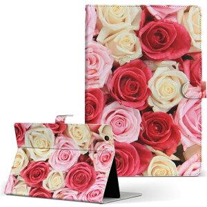 dtab Compact d-02H Huawei ファーウェイ ディータブコンパクト d02h Mサイズ 手帳型 タブレットケース カバー レザー フリップ ダイアリー 二つ折り 革 005272 薔薇 ピンク 白 赤
