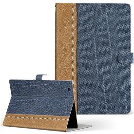 ASUS エイスース・アスース TransBook トランスブック t90chi3775 Lサイズ 手帳型 タブレットケース カバー フリップ ダイアリー 二つ折り 革 写真・風景 デニム 模様 006469