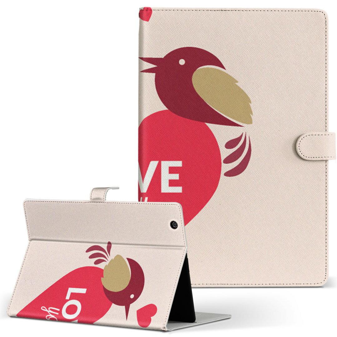 MouseComputer LuvPad WN801V2-W Mサイズ 手帳型 タブレットケース カバー 全機種対応有り レザー フリップ ダイアリー 二つ折り 革 ラブリー ハート 英語 文字 007024