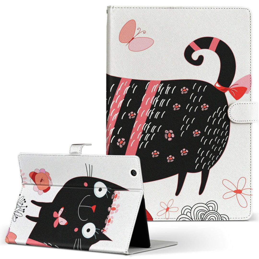 Lenovo TAB4 レノボ タブフォー Lサイズ 手帳型 タブレットケース カバー 全機種対応有り レザー フリップ ダイアリー 二つ折り 革 007727 花 フラワー 猫 ねこ