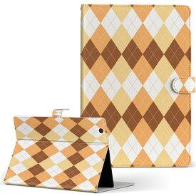 DELL Latitude 10 デル latitude10 LLサイズ 手帳型 タブレットケース カバー レザー フリップ ダイアリー 二つ折り 革 008111 チェック オレンジ アーガイル