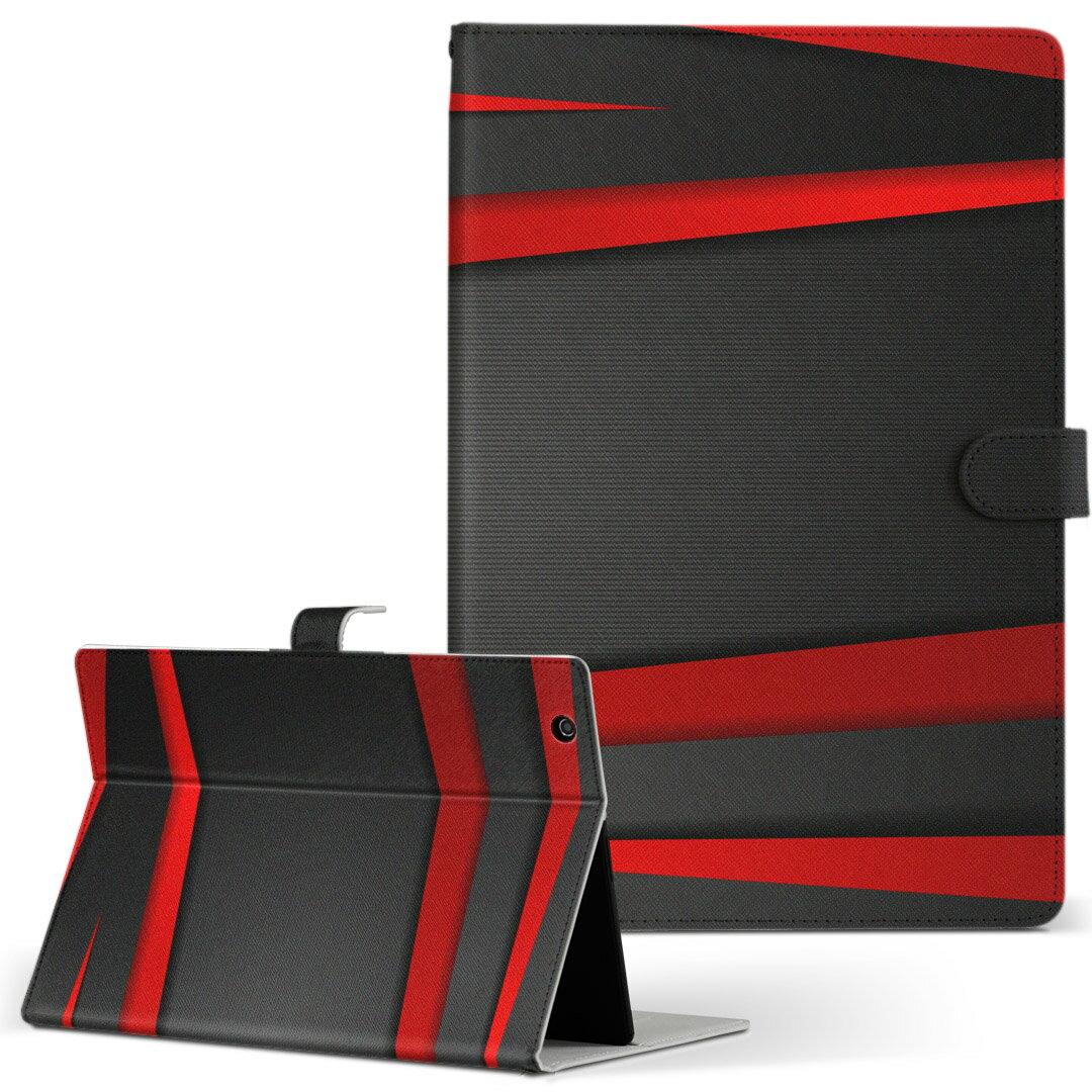 MouseComputer LuvPad WN801V2-W Mサイズ 手帳型 タブレットケース カバー 全機種対応有り レザー フリップ ダイアリー 二つ折り 革 クール 赤 レッド 黒 ブラック ライン 008225