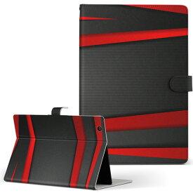 MouseComputer LuvPad WN801V2-W Mサイズ 手帳型 タブレットケース カバー レザー フリップ ダイアリー 二つ折り 革 クール 赤 レッド 黒 ブラック ライン 008225