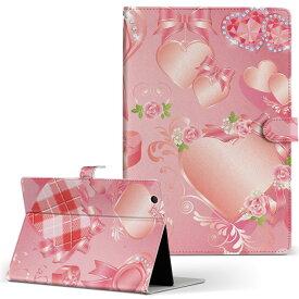 ASUS エイスース・アスース TransBook トランスブック t90chi3775 Lサイズ 手帳型 タブレットケース カバー フリップ ダイアリー 二つ折り 革 ラブリー バレンタイン ピンク リボン ハート 008299