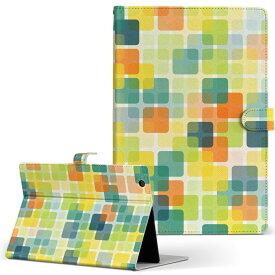 DELL Latitude 10 デル latitude10 LLサイズ 手帳型 タブレットケース カバー レザー フリップ ダイアリー 二つ折り 革 008462 イエロー 黄色 模様 四角