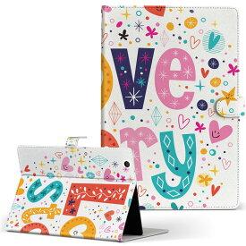 ASUS エイスース・アスース TransBook トランスブック t90chi3775 Lサイズ 手帳型 タブレットケース カバー フリップ ダイアリー 二つ折り 革 ラブリー 花 フラワー ハート 文字 008482