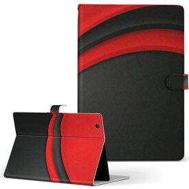 DELL Latitude 10 デル latitude10 LLサイズ 手帳型 タブレットケース カバー レザー フリップ ダイアリー 二つ折り 革 008557 黒 赤 レッド ブラック 模様