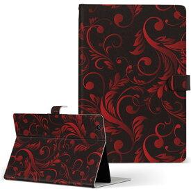 ASUS エイスース・アスース TransBook トランスブック t90chi3775 Lサイズ 手帳型 タブレットケース カバー フリップ ダイアリー 二つ折り 革 クール 赤 レッド 黒 ブラック 模様 008817