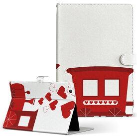 DELL Latitude 10 デル latitude10 LLサイズ 手帳型 タブレットケース カバー レザー フリップ ダイアリー 二つ折り 革 008854 赤 レッド ハート トレイン
