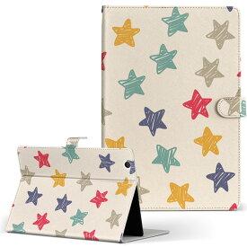 ASUS エイスース・アスース TransBook トランスブック t90chi3775 Lサイズ 手帳型 タブレットケース カバー フリップ ダイアリー 二つ折り 革 チェック・ボーダー 星 スター カラフル 模様 008872