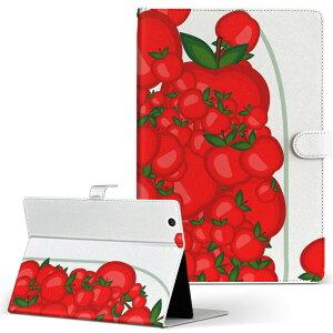 dtab Compact d-02K ディータブコンパクト D02K Mサイズ 手帳型 タブレットケース カバー レザー フリップ ダイアリー 二つ折り 革 009174 果物 赤 リンゴ
