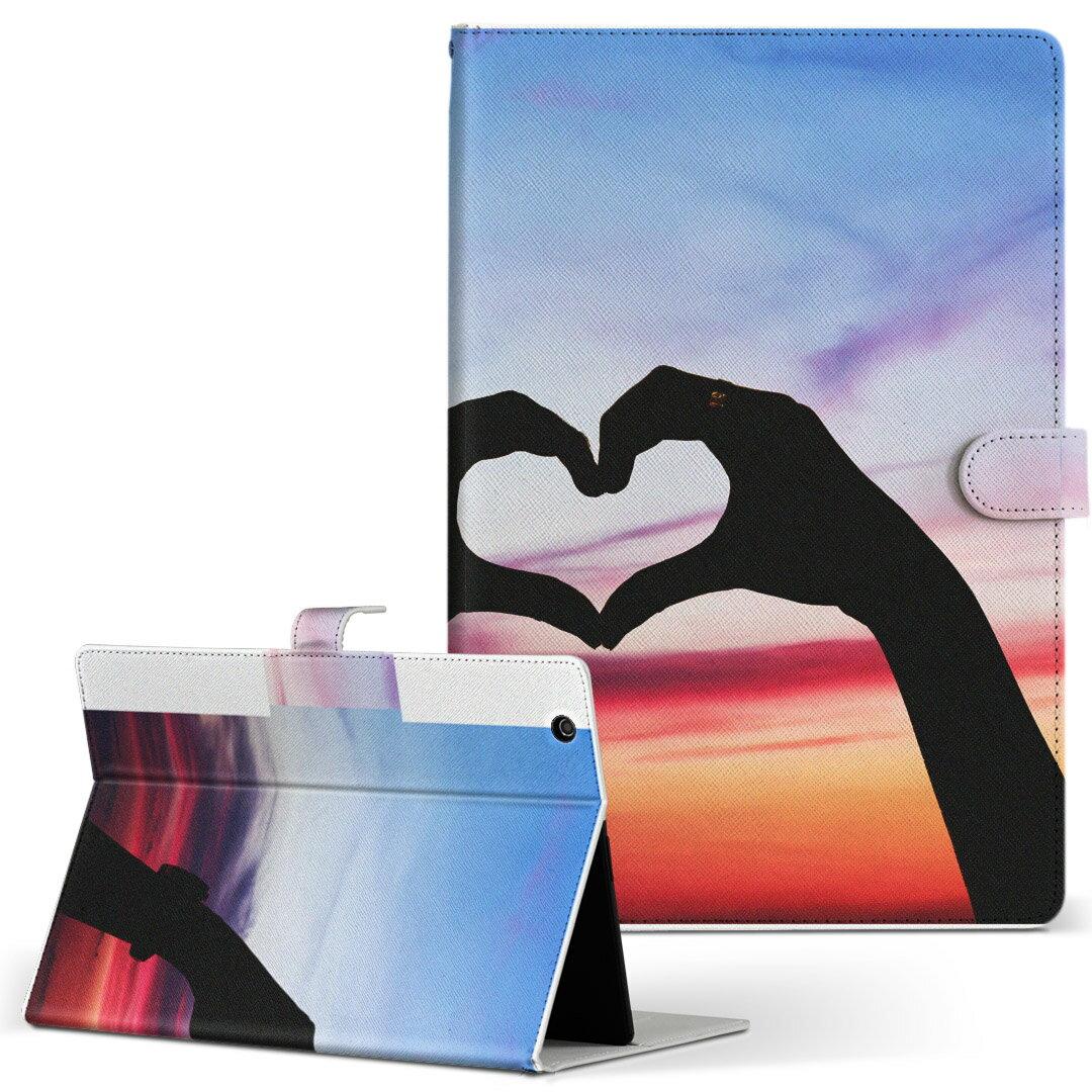 HP Tab Slate7 Sサイズ 手帳型 タブレットケース カバー 全機種対応有り レザー フリップ ダイアリー 二つ折り 革 空 ハート 写真 009663