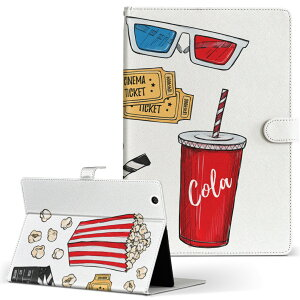 Quatab 01 キュアタブ Qua tab 01 au Mサイズ 手帳型 タブレットケース カバー レザー フリップ ダイアリー 二つ折り 革 014267 映画 ポップコーン
