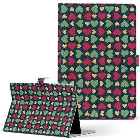 DELL Latitude 10 デル latitude10 LLサイズ 手帳型 タブレットケース カバー レザー フリップ ダイアリー 二つ折り 革 007838 ハート 赤 レッド 模様 緑 グリーン