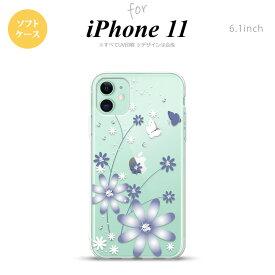 iPhone11 ケース ソフトケース 花柄 ガーベラ 透明 紫 nk-i11-tp074