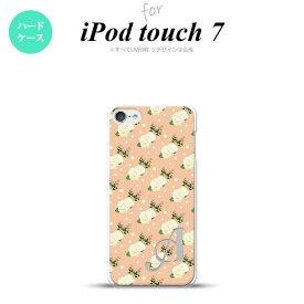 iPod touch 第7世代 ケース 第6世代 ハードケース 花柄 バラ ドット ライトサーモン +アルファベット nk-ipod7-245i