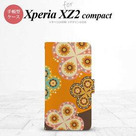 SO-05K Xperia XZ2 compact 手帳型 スマホ ケース カバー エクスペリア エスニック花柄 オレンジ×茶【エクスペリア XZ2 コンパクト,Xperia,XZ2,compact,SO-05K,docomo,ドコモ,メール便 送料無料】