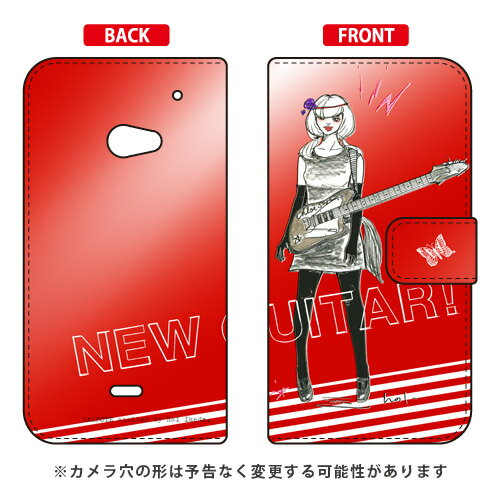 【送料無料】 手帳型スマートフォンケース 池田ハル 「New Guitar レッド」 / for AQUOS CRYSTAL 2/SoftBank・AQUOS CRYSTAL Y2 403SH/Y!mobile 【SECOND SKIN】aquos crystal 2 403sh ケース aquos crystal 2 403sh カバー 403sh ケース 403sh カバー