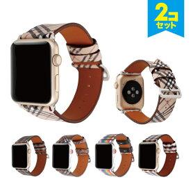 【お買い得】【2本セット】【送料無料】【Apple Watch】【アップルウォッチ】【Microfiber luxury design belt】【マイクロファイバー ラグジュアリー デザイン ベルト】【タータンチェック柄】【チェック柄】【レインボー柄】【アップルウォッチストラップ】 高級