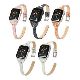 【送料無料】【Apple Watch】【アップルウォッチ】【Willow lighting leather belt】【ウイロ ライトニング レザー ベルト】【アップルウォッチストラップ】【セレブ】【スリム】【細身】【スパンコール風】【PU レザー】【本革】オリジナル バンド 美しい 大人 レディース