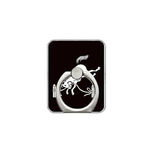 【送料無料】 スマホリング バンカーリング 家紋シリーズ 相馬繋ぎ馬 (そうまつなぎうま) (クリア) 【Coverfull】【カバフル】【受注生産】【落下防止】【スマートフォンリング】