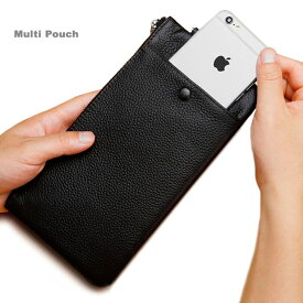 スマホポーチ スマホケース 本革レザー カードポケット ポケット iPhone galaxy Xperia 無地 薄型 レディース 取り外し可能ストラップ ファスナーポーチ クラッチバッグ 多機種対応 シンプル