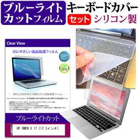 HP OMEN X 17 [17.3インチ] 機種で使える ブルーライトカット 指紋防止 液晶保護フィルム と キーボードカバー セット キーボード保護 メール便送料無料