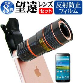 サムスン GALAXY S5 [5.1インチ] 機種対応スマートフォン用 クリップ式8倍望遠レンズ と 反射防止 液晶保護フィルム スマホレンズ カメラレンズ 望遠レンズ メール便送料無料
