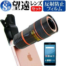 sony Xperia A4 [4.6インチ] 機種対応スマートフォン用 クリップ式8倍望遠レンズ と 反射防止 液晶保護フィルム スマホレンズ カメラレンズ 望遠レンズ メール便送料無料