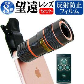京セラ URBANO V02 au [5インチ] 機種対応スマートフォン用 クリップ式8倍望遠レンズ と 反射防止 液晶保護フィルム スマホレンズ カメラレンズ 望遠レンズ メール便送料無料