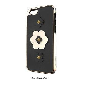 【正規販売代理店】 《 REBECCAMINKOFF 》GUITAR STRAP INLAY CASE Guitar Strap Flower for iPhone SE 第2世代/8/7ケース Black Cream Gold 《 レベッカミンコフ スマホ フラワースマホケース 》