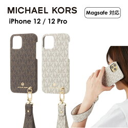 MICHAEL KORS iPhone12 12Pro スリム ケース マイケルコース Slim Wrap Case Signature with Hand Strap Magsafe スマホケース 正規代理店