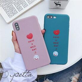 iPhone アイフォン ケース カバー 7 8 Plus X XS XR XSMax スマイル ハート ニコちゃん にこちゃん ワンポイント キャンディカラー マットカラー パステルカラー ピンク ブルー シンプル TPU 韓国 海外 セレブ 流行 ペア おそろい かわいい 可愛い おしゃれ オシャレ お洒落