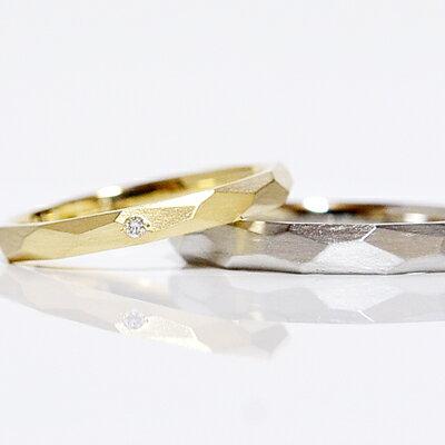 pt900(プラチナ)メンズ-K18YG(ゴールド)レディース ヴィンテージペアリング/アシンメトリーカットリング/槌目/3mm/2.5mm/鍛造製/ペアリング(2本)製作/マリッジリング/結婚指輪/