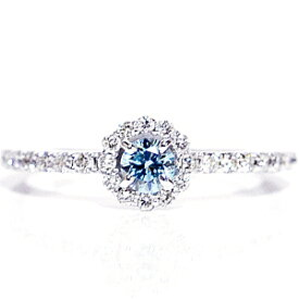 ファンシーカラーダイヤモンド アイスブルー ホワイトゴールド ダイヤモンド リング/ K18WG ICE BLUE DIAMOND RING【楽ギフ_包装】