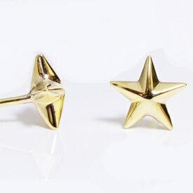 スタースタッズ スタッドピアス イエローゴールドK18YGPIERCE STAR 直結ピアス 星6mm 両面スタッズ【楽ギフ_包装】誕生日クリスマスプレゼント