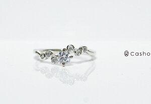 "【CASHO-BRIDAL】pt900DIAMONDRING0.36ホワイト、ピンク、イエローゴールドダイヤモンドリング0.36""バブルセット4点留め""エンゲージリング/ブライダル/婚約指輪"