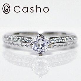 "【CASHO-BRIDAL】ハードプラチナ ダイヤモンドリング 0.45UP""サイドメレ ラグジュアリー ストレートライン""エンゲージリング/ブライダル/婚約指輪/pt950 HARD PLATINUM DIAMOND RING 0.45"