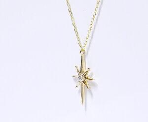 【CASHO】K10WG/PG/YG(ホワイト、ピンク、イエローゴールド)ダイヤモンドペンダントネックレス/太陽/星/スタッズ/K18別作可【楽ギフ_包装】