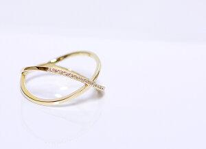 【CASHO】K10WG/PG/YG(ホワイト、ピンク、イエローゴールド)クロスラインダイヤモンドリングK18/pt900別作可/エタニティーダイヤモンド/【楽ギフ_包装】