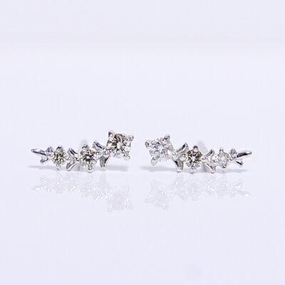 【CASHO】ホワイトゴールド ダイヤモンドスタッドピアス/トリロジー/月桂樹/スリーストーン/K18WG diamond pierce/【楽ギフ_包装】