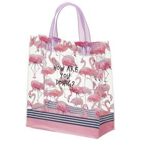 クリアランチバック●フラミンゴ●//お出かけ 手提げかばん 中が見える 透明バッグ 小物 ビニールバッグ かばん ランチバッグ お出かけ 見せバッグ//