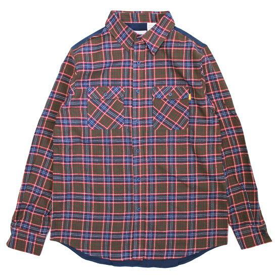 送料無料 ANYTHING エニシング Good Life Shirt 長袖 シャツ グリーン×レッド×ブルー 【あす楽対応_東北】【あす楽対応_関東】