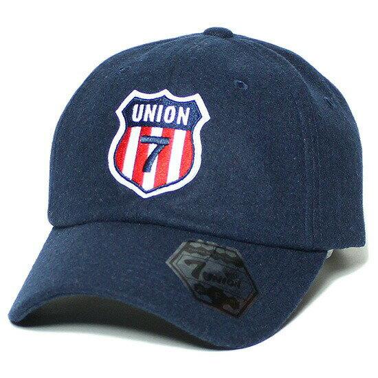 7UNION 7ユニオン Red & White Stripes Bent Brim Cap キャップ ボールキャップ 帽子 ネイビー