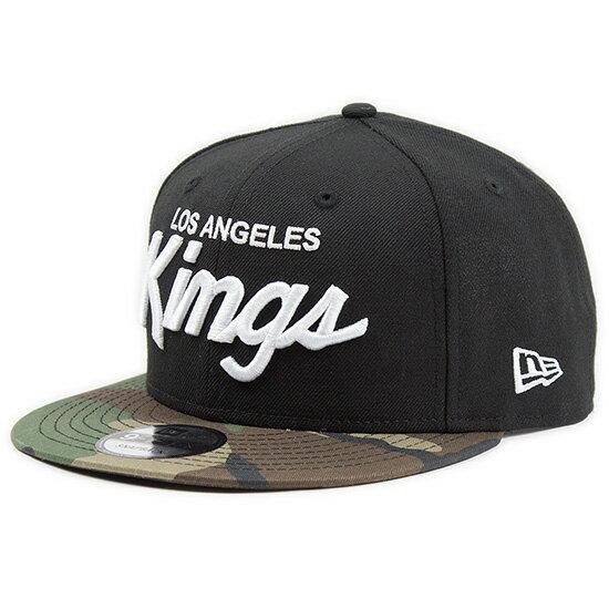 ニューエラ NEW ERA 9FIFTY ロサンゼルス・キングス スナップバックキャップ 帽子 CAP 11427789 KINGS CAP 迷彩 ブラック×ホワイト ウッドランドカモバイザー