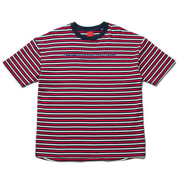 送料無料 NINE RULAZ LINE ナインルーラーズ Knit Border Tee 半袖 ボーダー Tシャツ ドロップショルダー NRSS17-025 レッド